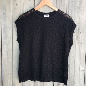 Black lace baggy small forever 21 t-shirt top